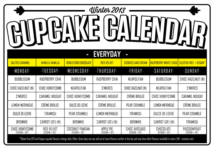 Winter Collection Cupcake Central Calendar